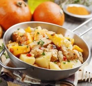 Glazované kuře s parmezánovými brambory